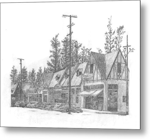 Metal Print featuring the drawing Big Bear Village California by Rick Cleworth