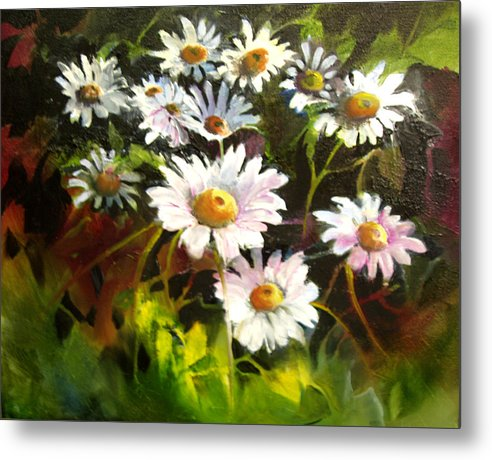 Flowers Metal Print featuring the painting Daisies by Robert Carver