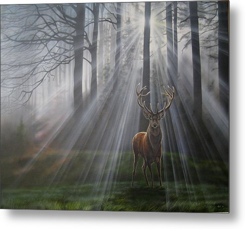 Red Deer Metal Print featuring the painting Autumn Morning by Barbara Krondorfer