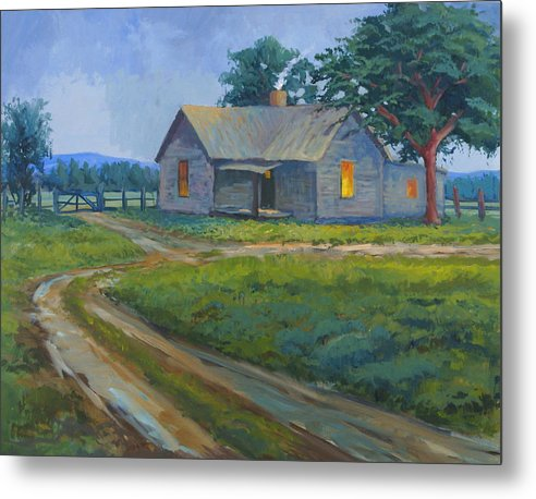 Landscape Metal Print featuring the painting Cold Wet Day by Bob Adams