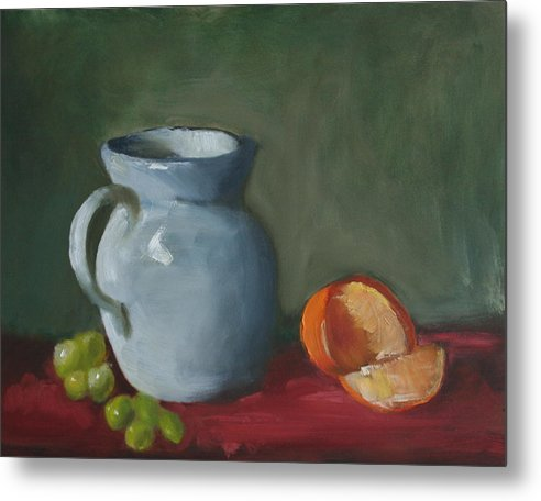 Still Life Metal Print featuring the painting Pitcher With Fruit by Rf Hauver
