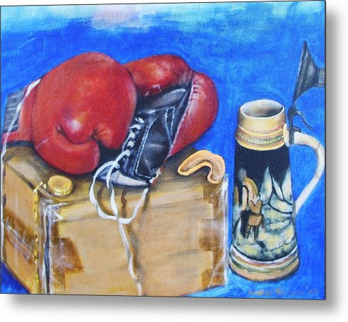 Boxing Gloves Metal Print featuring the painting Round Eight by Howard Stroman