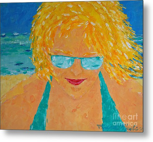 Beach Art Metal Print featuring the painting Warm Summer Breeze by Art Mantia