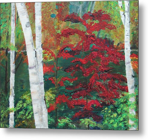 Forest Metal Print featuring the painting Birch Trees In Red by Frankie Picasso