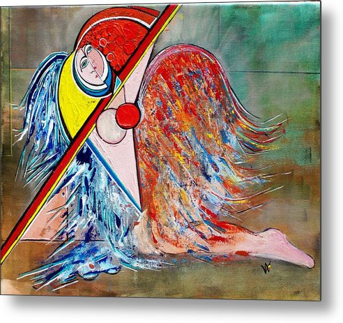 Angel Metal Print featuring the painting Angel - Study 1 by Valerie Wolf