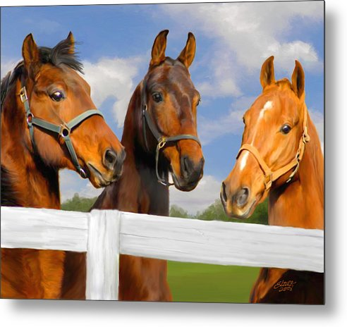 Saddlebred Metal Print featuring the painting Awaiting Home by Elzire S