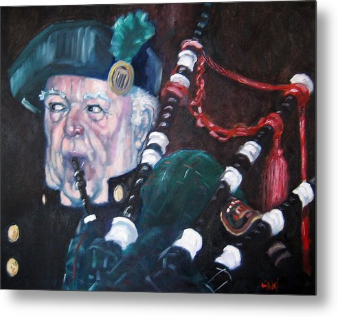 Scottish Irish Ireland Scotland Music Portrtait Metal Print featuring the painting The Piper by Kevin McKrell
