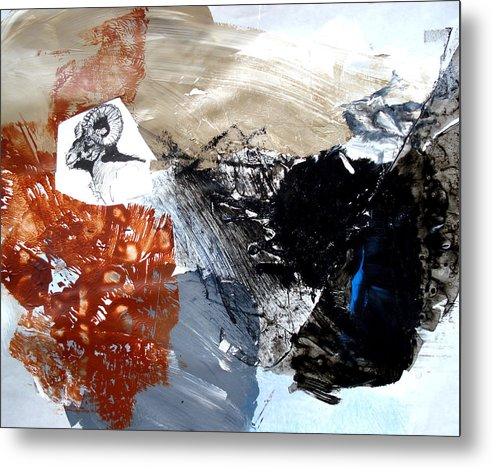 Wildlife Abstract Metal Print featuring the painting Big Horn At Home by Paul Miller
