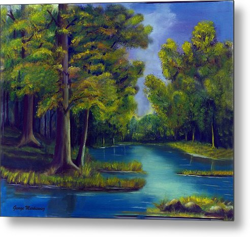 Water Landscape Metal Print featuring the print Deep Woods by George Markiewicz