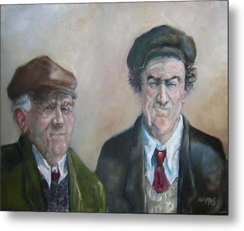 Portrait Figure Metal Print featuring the painting Father And Son by Kevin McKrell