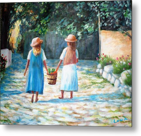 Garden. Girls.flowers. Fruit. Metal Print featuring the print Sisters by Carl Lucia
