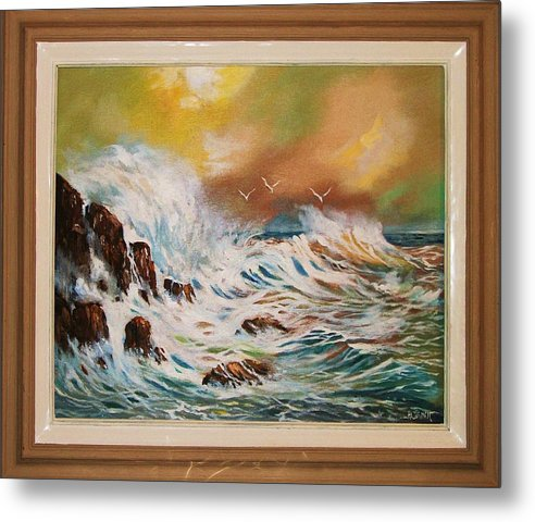 Seascape Metal Print featuring the painting Pounding Surf by Al Brown