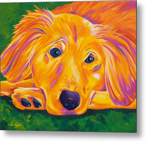 Golden Retriever Metal Print featuring the painting Eyes For You by Susan Szabo