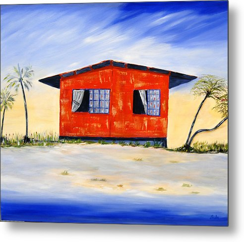 Caribbean Metal Print featuring the painting Beach House by Sula Chance