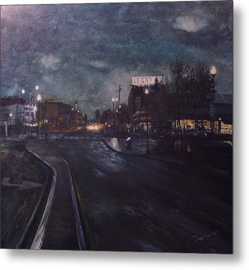 Landscape Metal Print featuring the painting Porter Square by Richard Ong