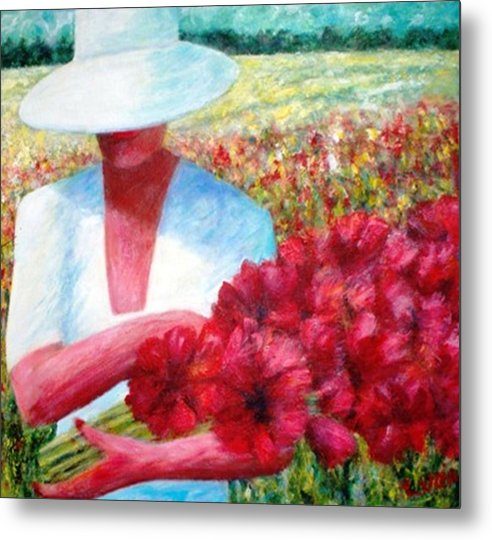 Woman. Field. Counrty. Flowers. Memories. Metal Print featuring the print Memories In Red by Carl Lucia