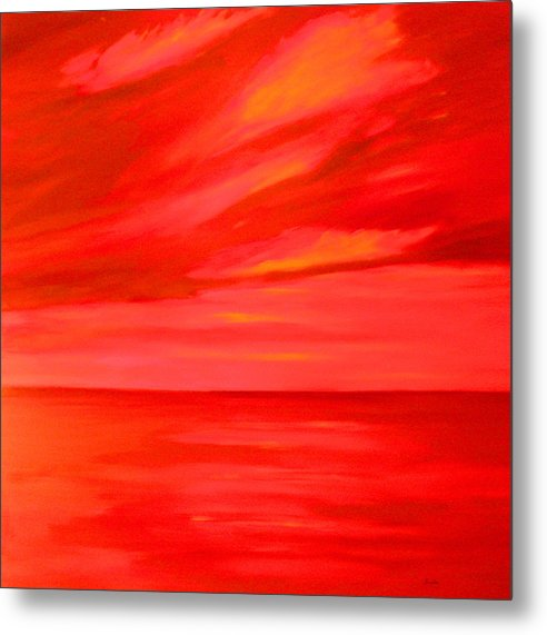 Caribbean Metal Print featuring the painting Orange Sky by Sula Chance