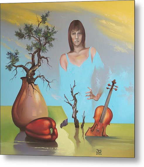 Metal Print featuring the painting Watermusic by Zoltan Ducsai