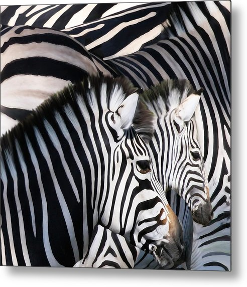 Zebras Metal Print featuring the painting Zebra Family by Johnnie Boswell