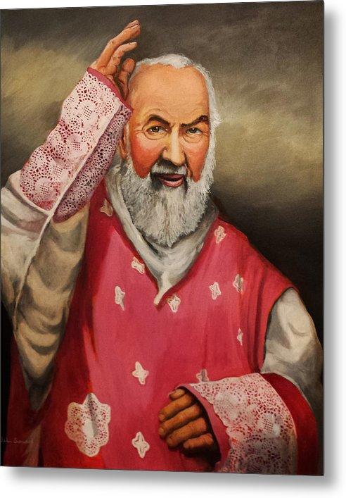 Saint Padre Pio Metal Print featuring the painting Gaudete Sunday by John Genuard