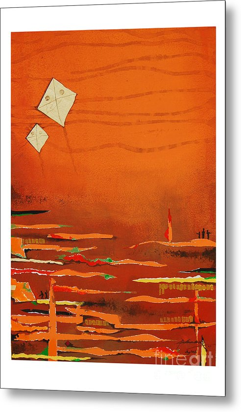 Abstract Metal Print featuring the mixed media Untitled by Padmakar Kappagantula