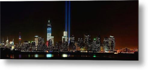 9-11 Metal Print featuring the photograph Tribute In Light From Bayonne by Nick Zelinsky