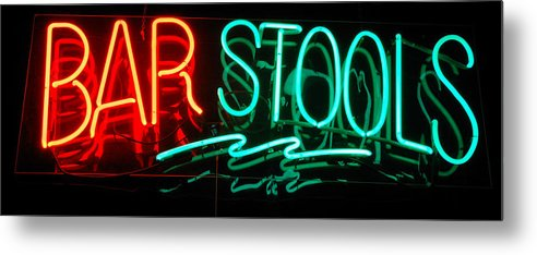 Neon Metal Print featuring the photograph Neon Bar Stools by Steven Milner