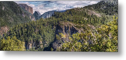 Hdr Panoramic Metal Print featuring the photograph Yosemite Valley by Stephen Campbell