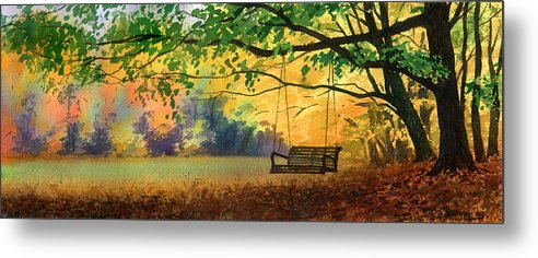 Landscape Metal Print featuring the painting A Tree Swing by Sergey Zhiboedov
