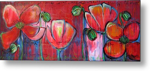 Red Metal Print featuring the painting Did You Say Sanctuary by Laurie Maves ART