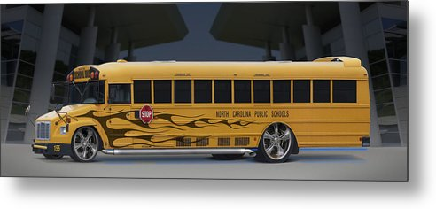 Hot Rod Metal Print featuring the photograph Hot Rod School Bus by Mike McGlothlen