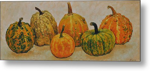 Still Life Metal Print featuring the painting Still Life With Pumpkins by Iliyan Bozhanov
