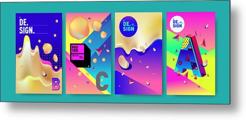 Abstract Colorful Liquid And Fluid Colors Background For Poster Design Blue Yellow Red Orange Pink And Green Vector Banner Poster Template In