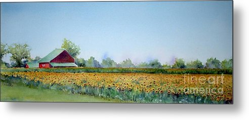 Landscape Metal Print featuring the painting Field Of Sunshine by Patricia Henderson