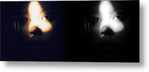 Eyes Metal Print featuring the photograph Eyes In Darkness by Guadalupe Nicole Barrionuevo