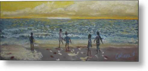 Landscape Metal Print featuring the painting End Of Summer by Cathy Weaver