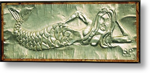 Mermaid Metal Print featuring the mixed media Metal Mermaid by Sheri Buchheit