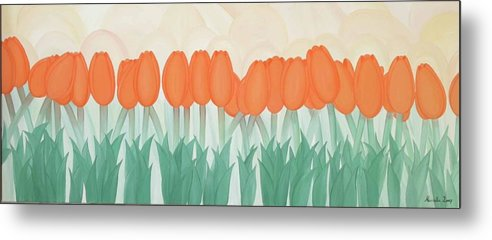 Marinella Owens Metal Print featuring the painting Orange Tulipans by Marinella Owens