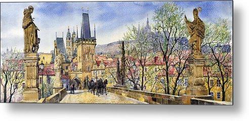 Watercolour Metal Print featuring the painting Prague Charles Bridge Spring by Yuriy Shevchuk