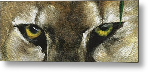 Panther Eyes Metal Print featuring the painting Whos Watching Who Florida Panther by Darlene Green
