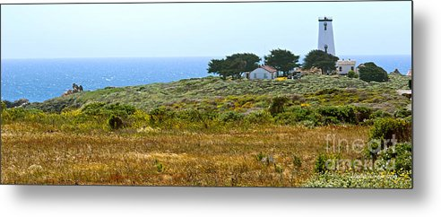 Piedras Blancas Lighthouse Metal Print featuring the photograph Piedras Blancas Lighthouse Near San Simeon And Cambria Along Hwy 1 In California by Artist and Photographer Laura Wrede