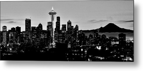 Seattle Metal Print featuring the photograph Stark Seattle Skyline by Benjamin Yeager