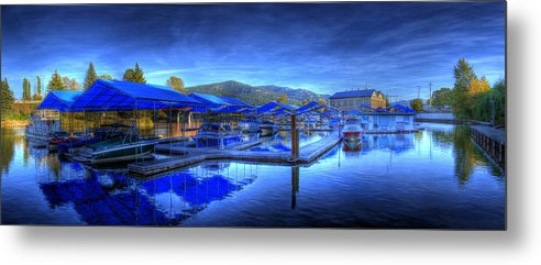 Scenic. Landscape Metal Print featuring the photograph Sandpoint Marina And Power House 1 by Lee Santa