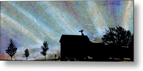 Blue Sunrise Sky Clouds Barn White Trees Tree High Light Sun Ray Rays Picture Old Landscape Fresh Farm Earth Color Winter Texture Sunset Space Scenery Kyllo Silhouette Pattern Night Morning Greeting Card Farmhouse Decoration Buildings Beautiful Art Recycled Metal Print featuring the mixed media Blue Sunrise by R Kyllo