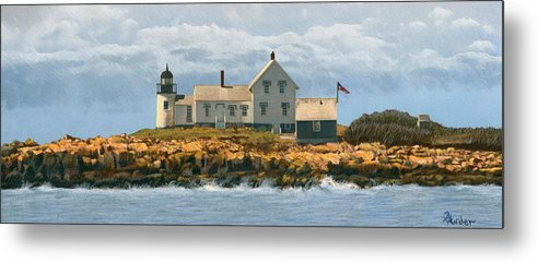 Lighthouse Metal Print featuring the drawing Foggy Sentinel by Brent Ander