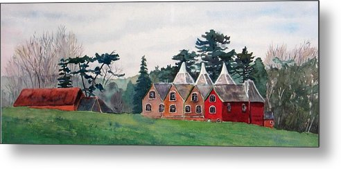 Oast House Metal Print featuring the painting Kent Country Houses by Debbie Homewood