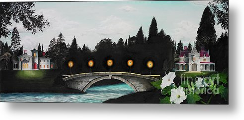 Architecture Metal Print featuring the painting Night Bridge by Melissa A Benson
