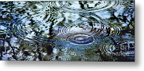 Rain Metal Print featuring the photograph Raindrops On Water by Francesa Miller