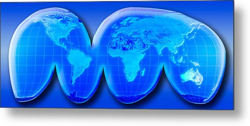 Map Of World From Goodes Homolosine 1 Metal Print