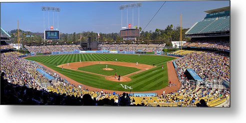 Dodgers Metal Print featuring the photograph Dodger Stadium Panorama by Eddie Yerkish